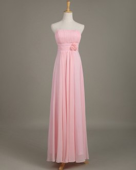 Blush Strapless Backless Chiffon Draped Flower A Line Long Wedding Party Bridesmaid Dress
