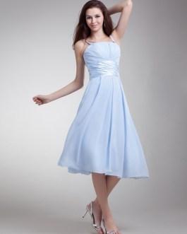 Bridesmaid Dress Chiffon Spaghetti Strap Ruched Waist A Line Prom Dress