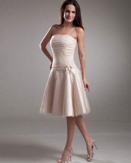 Bridesmaid Dress Strapless Flowers Tulle Dress