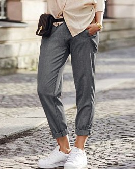Casual Pure Color Elastic Waist Side Pockets Trousers Pants