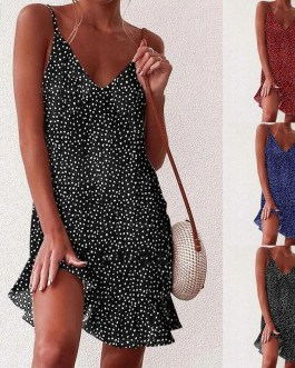 Casual Sleeve Ruffles V-neck Sling Chiffon Mini Dress