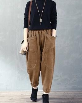 Corduroy Elastic Waist Loose Causal Pocket Pants