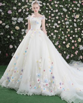 Flowers Quinceanera Off The Shoulder Rhinestones Beading Short Sleeve Pageant Dresses