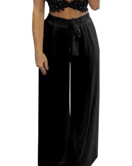 High Elastic Waist Yoga Dance Pants Wide Legs Trousers
