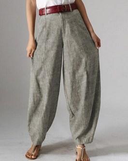 High Waist Button Solid Color Harem Pants with Pocket