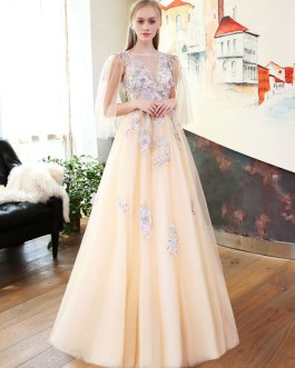 Long Tulle Luxury Flowers Embroidered Applique Beading Butterfly Sleeve Formal Party Dress