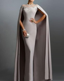 Maxi Dresses Long Sleeves Jewel Neck Pleated Layered Polyester Floor Length Dress