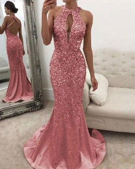 Maxi Dresses Sleeveless Jewel Neck Cut Out Backless Polyester Floor Length Dress