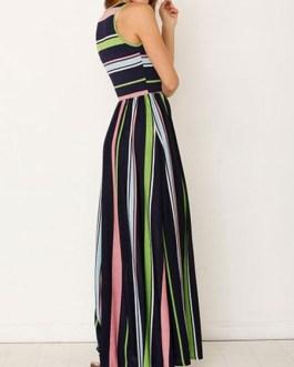 Maxi Dresses Sleeveless Stripes Jewel Neck Cotton Blend Floor Length Dress