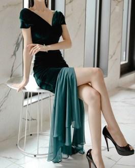 Maxi Dresses Sleeveless Two-Tone V Neck Split Front Stretch Polyester Long Dress