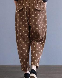 Polka Dot Print Elastic Waist Corduroy Pants