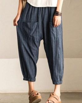Retro Striped High Elastic Waist Casual Loose Harem Pants