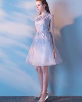 Round Neck Sleeveless Lace Applique Prom Dresses