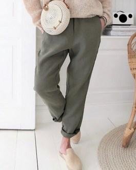 Simple Comfortable Side Pockets Pants