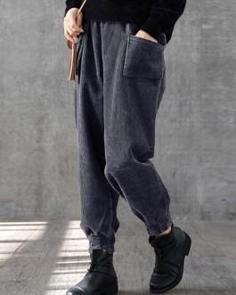 Solid Color Elastic Waist Pocket Pants For Women