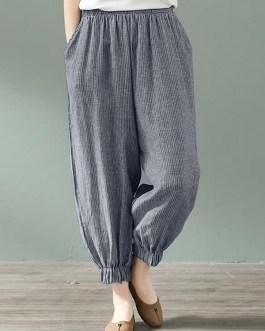 Stripe Elastic Waist Loose Pocket Casual Pants