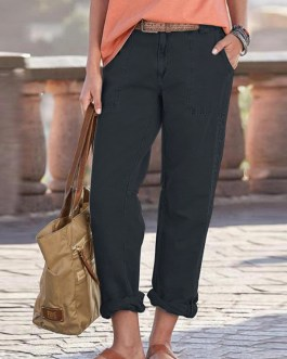 Women Solid Color Loose High Waist Pants