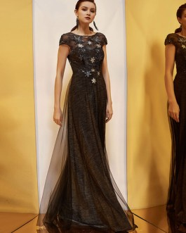 A Line Bateau Neck Tulle Short Sleeves Cut Out Pageant Dresses