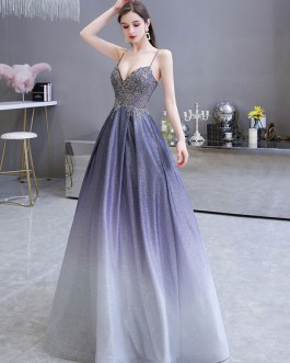 A Line Sweetheart Neck Straps Sleeveless Metallic Gradient Color Floor Length Formal Party Prom Dresses