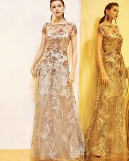 Bateau Neck Short Sleeves A Line Sequins Wedding Guest Dresses