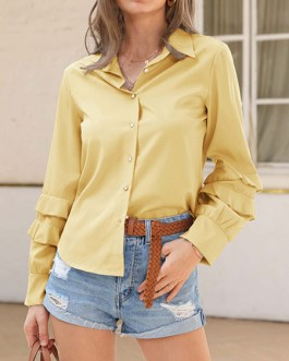 Blouse Ruffles Turndown Collar Sexy Long Sleeves Polyester Tops