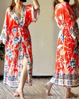 Boho Print Self Belted Front Open Long Kimono Dress