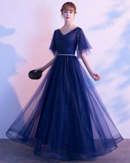 Evening A Line V Neck Floor Length Sequins Formal Party Dresses