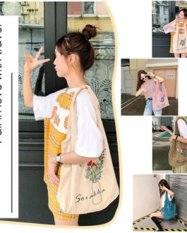 Flower Print Simple Large Capacity Durable Corduroy Casual Shopping bags