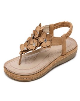 Flat Sandals Flowers Comfy T-Type Bandage Beach Sandals