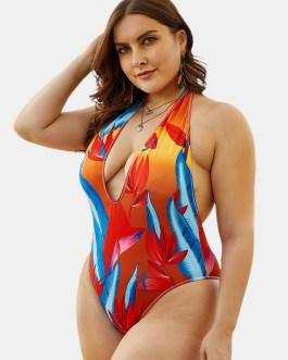 Halter Deep Necklines High Waisted Swimwear