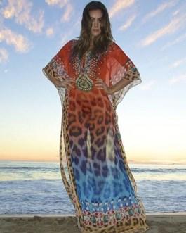 Leopard Fashion Long Sleeve Beach Dress