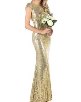 Maxi Dresses Sleeveless Jewel Neck Sequins Polyester Long Dress