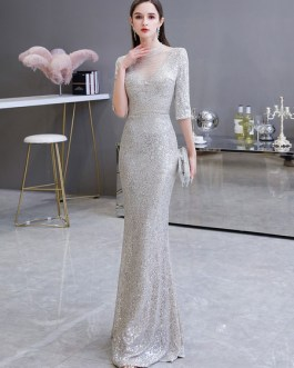 Mermaid Beaded Illusion Neck Sequined Half Sleeve Floor Length Sequins Formal Party Evening Dresses