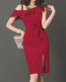 One Shoulder Ruffles Split Sleeveless Bodycon Dress