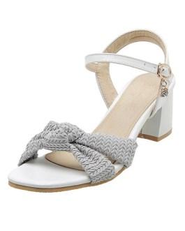 Open Toe Two-Tone Sandals Chunky Heel Women's Shoes