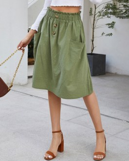 Paper Bag Buttons A Line Midi Skirt With Pockets