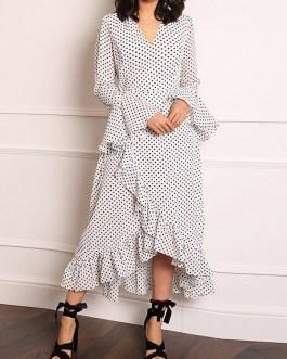 Polka Dot Ruffle Sleeve High Low Hem Causal Dress