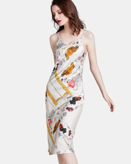 Printed Spaghetti Straps Longlined Nightgown