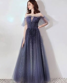 Prom A Line Illusion Neckline Short Sleeves Pleated Pageant Dresses