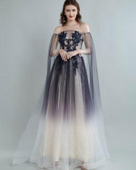 Prom A Line Off The Shoulder Long Sleeves Cut Out Gradient Ramp Wedding Guest Dresses