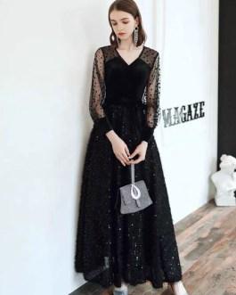 Prom V Neck A Line Long Sleeves Polka Dot Sequins Evening Dresses