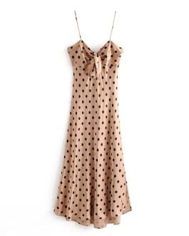 Sexy Bow Polka Dot Strapless Bodycon Midi Dress