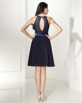 Sexy Open Back A line Knee Length Short Prom Dress