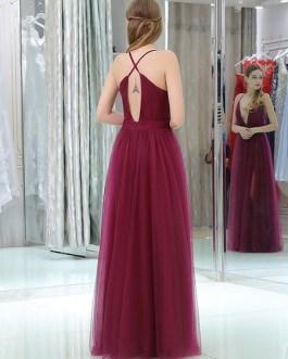 Tulle V Neck A Line Sleeveless Split Front Floor Length Party Prom Dresses