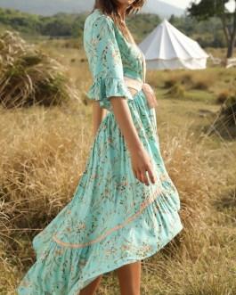 V-Neck Half Sleeves Floral Print Layered Beach Dress