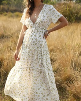 V Neck Short Sleeves Floral Print Maxi Dress