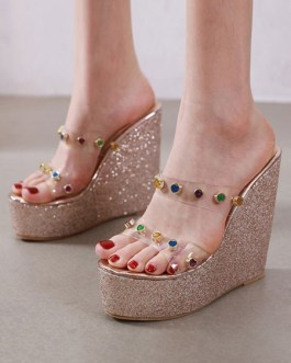 Wedge Heel Sandals Open Toe Transparente Jeweled Chic Women's Shoes