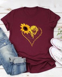 Casual Basic Sunflower Printed Short Sleeve O-neck T-Shirt