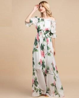 Casual Floral Print Boho Maxi Dress