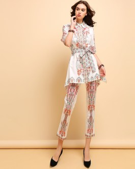 Casual Half Sleeve Bow Tie Tops Pants Two Pieces Set